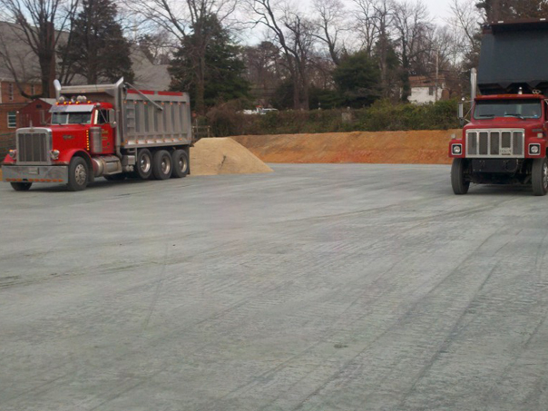 Carroll Bros. Contracting Trucks delivering sand - Bowie, MD
