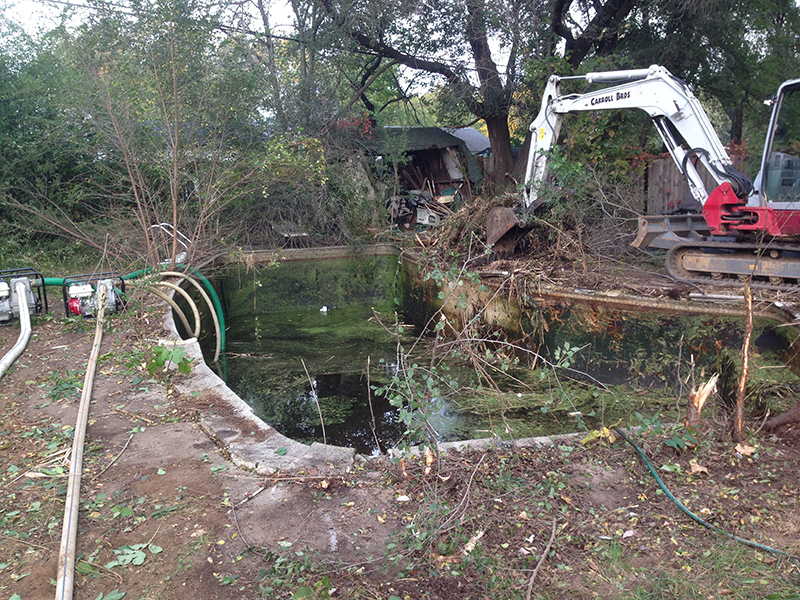 Carroll Bros. Contracting Backyard Pool Removal Before