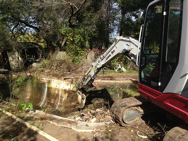 Carroll Bros. Contracting Backyard Pool Removal During