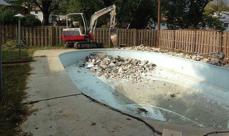 Carroll Bros. Contracting Foreclosure Pool Removal Before