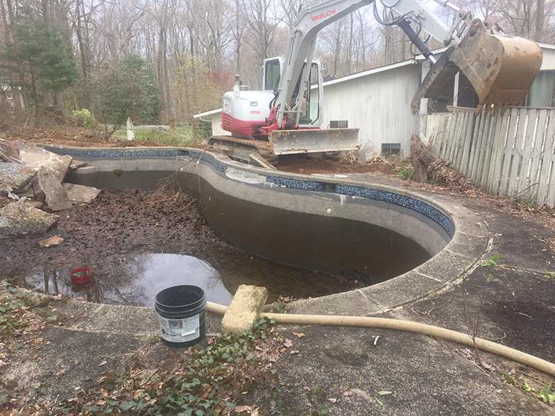 Pool Removal in Fallston Before